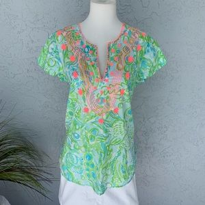 Never Worn Lilly Pulitzer Embroidered Tunic SZ S